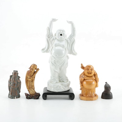 Ceramic and Wood Jubilant Buddha Figurines and Other Asian Style Figures