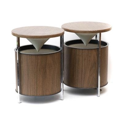 Mid Century Modern Atomic Style Tabletop Speakers, Pair