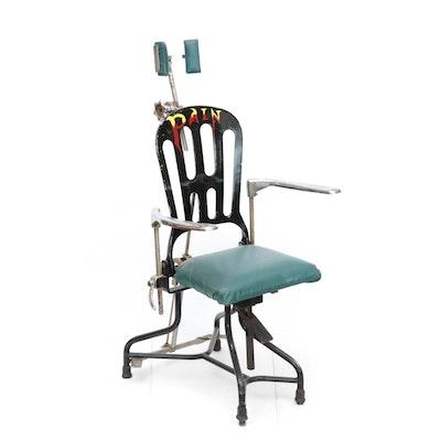 Hand-Painted Metal Dentist's Chair, Vintage