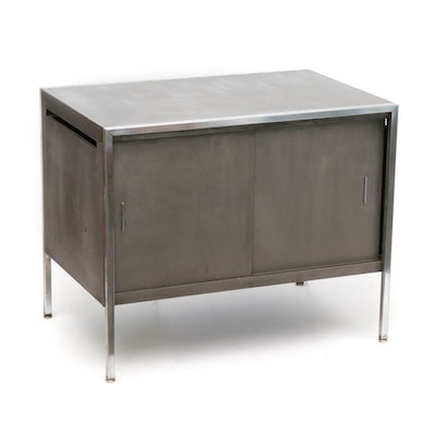 Industrial Style Metal Record Cabinet, Mid-Century