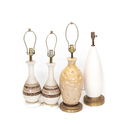Mid Century Modern Ceramic Table Lamps, Set of Four