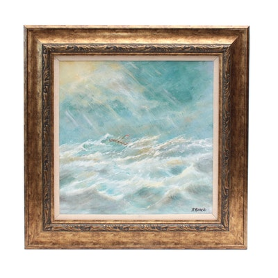 """Robert Riddle Acrylic Painting """"The Last Wave"""""""