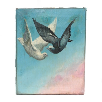 Oil Painting of Doves, Circa Late 19th Century