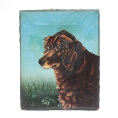 Oil Painting of Dog, Circa Late 19th Century