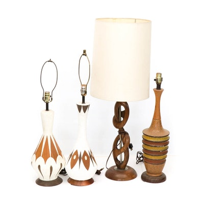 Mid Century Modern Wood Accented Table Lamps, Set of Four
