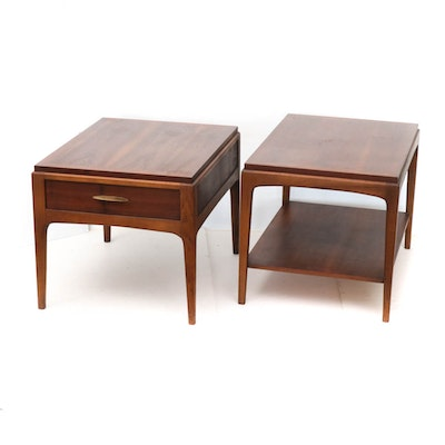 "Lane ""Rhythm"" Walnut End Tables, Mid-Century"