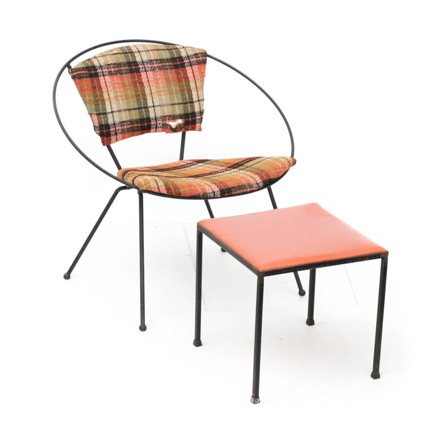 Tony Paul Hoop Chair and Unknown Metal Framed Ottoman, Mid-Century
