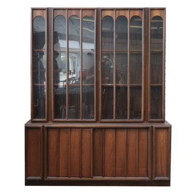 "Keller ""Dimension VII"" Oak and Walnut Veneer China Cabinet, Mid-Century"