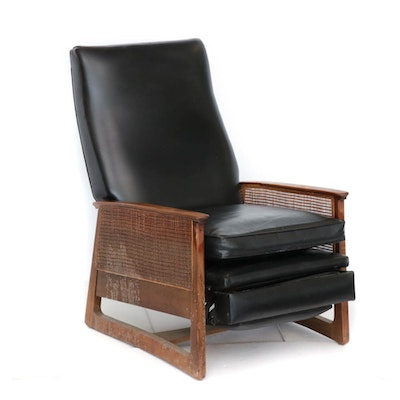 Wood Frame Faux Leather Recliner, Mid-Century