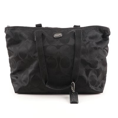 Coach Signature Black Nylon Tote Bag