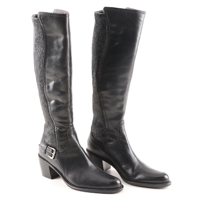 Donald J Pliner Black Leather and Textured Tall Boots