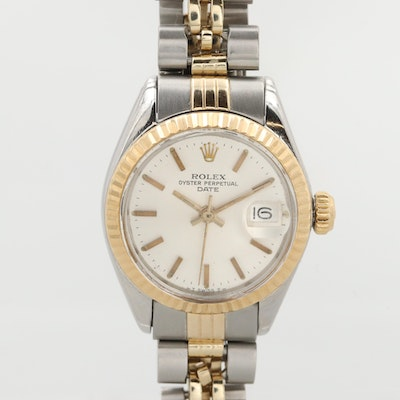 Rolex Oyster Perpetual Date 18K Gold and Stainless Steel Wristwatch, 1978
