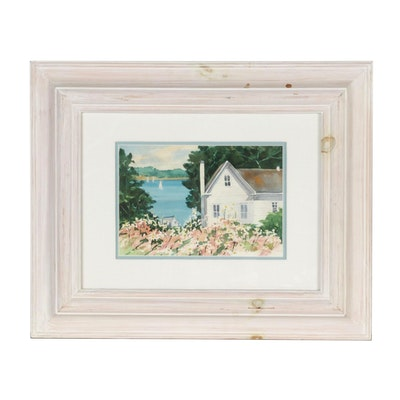 Watercolor Painting of a Seaside Cottage