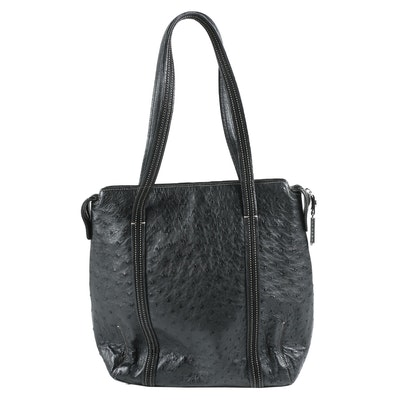 Judith Leiber New York Black Ostrich Shoulder Bag with Contrast Stitching