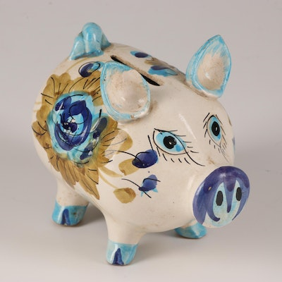 Italian Hand-Painted Earthenware Piggy Bank