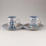 "M A Hadley ""Country Scene Blue"" Stoneware Mugs and Dessert Plates"