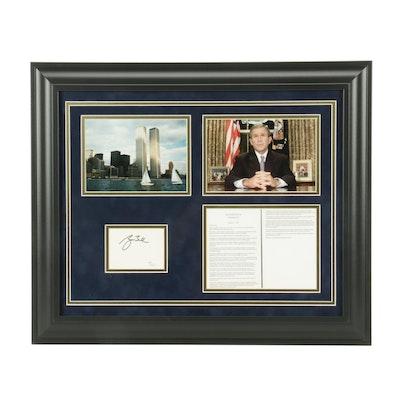 George W. Bush Cut Signature in a Framed 9/11 Display, COA