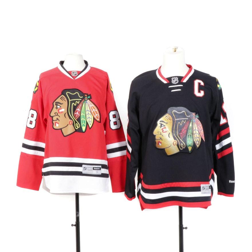 new style 2070a 93fc6 Reebok Patrick Kane and Jonathan Toews Chicago Blackhawks Hockey Jerseys