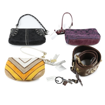 Coach Wristlet Pouches, Leather and Jacquard Belt, and Travel Mix Key Ring Charm