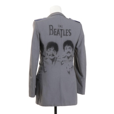 Beatles Themed Stenciled Military-Style Coat