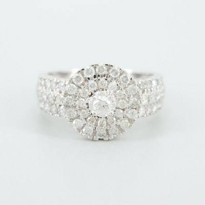 14K White Gold Diamond Double Halo Ring