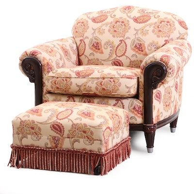 Contemporary Paisley and Floral Upholstered Arm Chair with Ottoman
