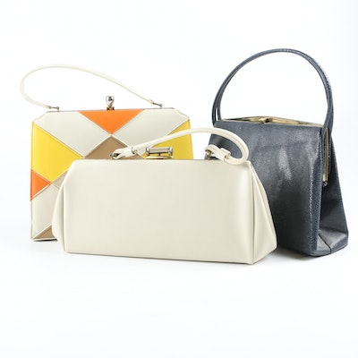 Top Handle Day Bags in Faux Leather Including Dover, USA, 1960s Vintage