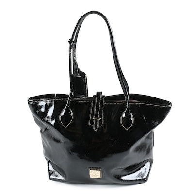 Dooney & Bourke Black Crinkled Patent Leather Tote Shoulder Bag
