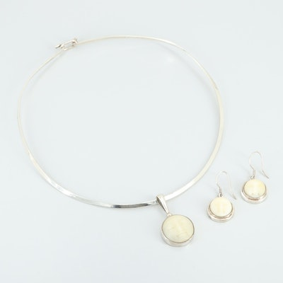 Sterling Silver Bone Necklace and Earrings Set Including Sajen
