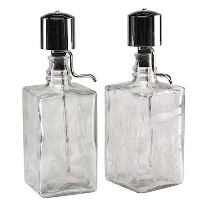 "Vintage ""Bourbon"" and ""Scotch"" Liquor Dispensers with Chrome Pump"