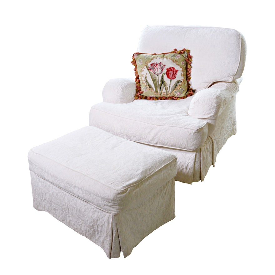Sherrill Lounge Chair and Ottoman with Tulip Needlepoint Pillow, Contemporary