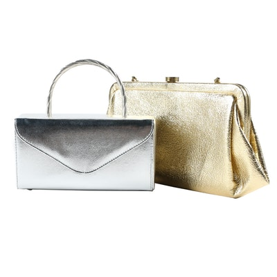 Mini Box Purse and Convertible Clutch in Metallic Faux Leather, Vintage