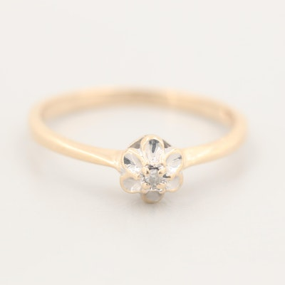 10K Yellow Gold Diamond Solitaire Ring