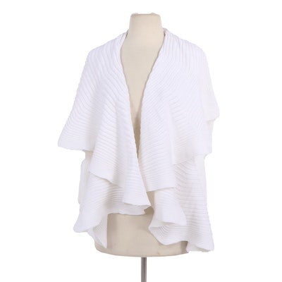 Angelo Tarlazzi Paris White Open Ribbed Knit Cardigan