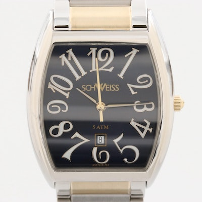 Schweiss Made Two Tone Stainless Steel Wristwatch