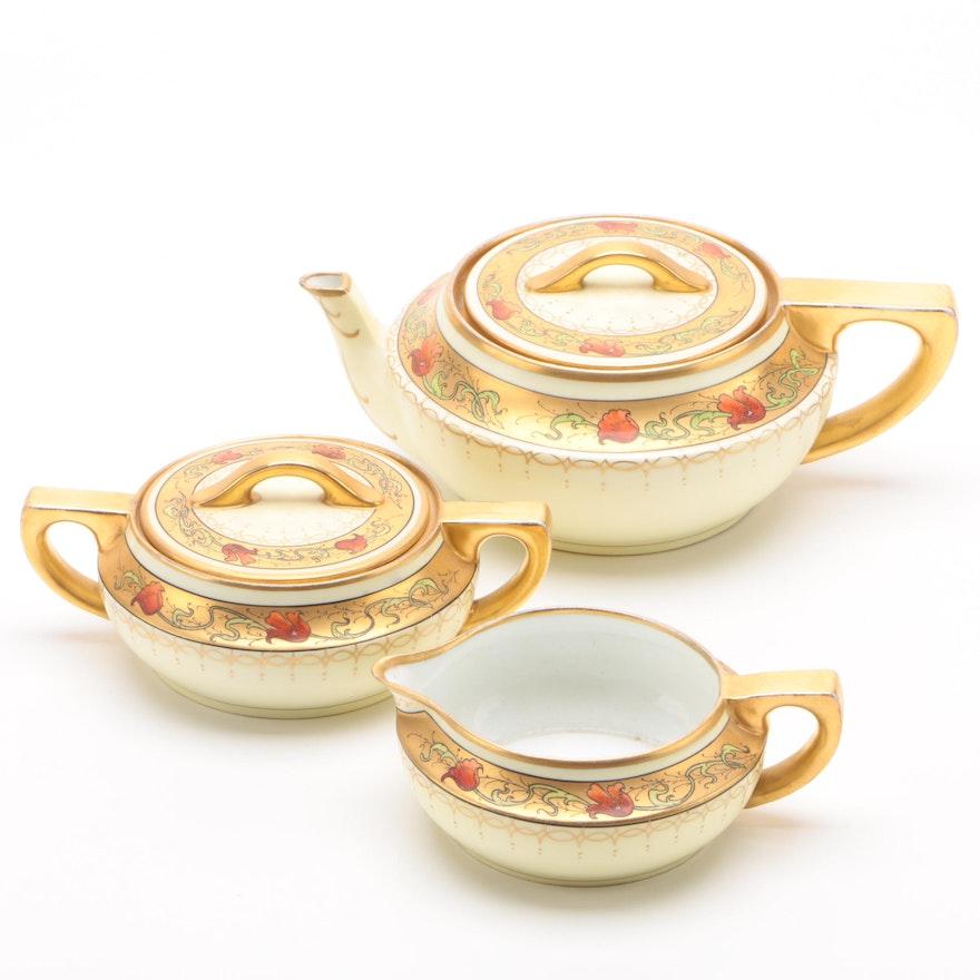 Pickard Hand-Painted La Seynie Porcelain Teapot, Creamer, and Lidded Sugar Bowl