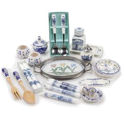 Holland Blue and White Ceramic Tableware and Candles Including Delft