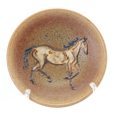 Thrown Hand-Painted Stoneware Centerpiece Plate with Slip Trailed Horse Motif