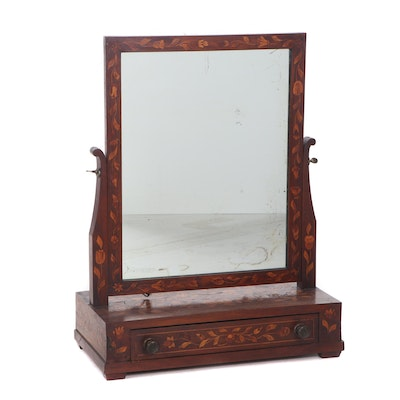 Federal Period Fruitwood Tabletop Shaving Mirror with Marquetry Detail, Antique