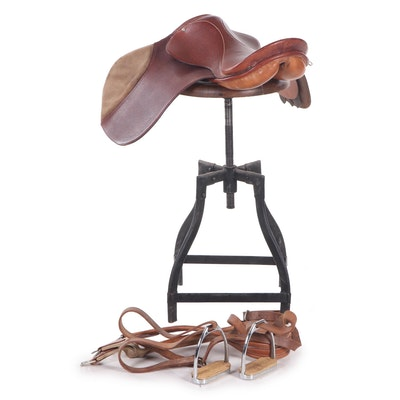 Leather English Horse Saddle and Storage Bag