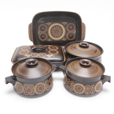 """Denby-Langley Stoneware """"Samarkand Brown"""" Serveware, Mid to Late 20th Century"""