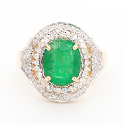 14K Yellow Gold 2.03 CT Emerald and Diamond Ring