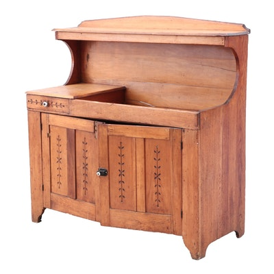 Eastlake Ash and Poplar Dry Sink, Late 19th Century