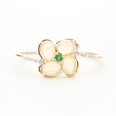 14K Yellow Gold Opal, Emerald and Diamond Floral Design Ring