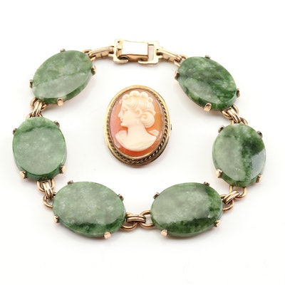 Gold Filled Cameo Brooch and Nephrite Bracelet