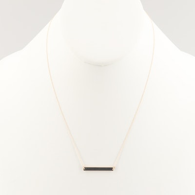 14K Yellow Gold Bar Necklace with Curb Chain