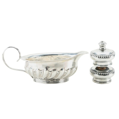 Sterling Tastevin with Inset 1723 Great Britain Shilling and Cruet Stopper