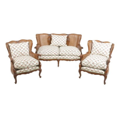Gebruder Thonet Vienna Wicker Loveset and Chair Set