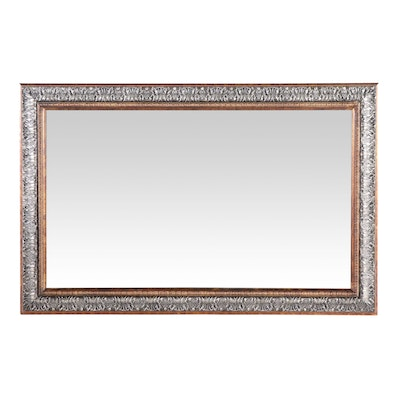 Gold and Silver Painted Acanthus Leaf Rectangular Mirror, Contemporary