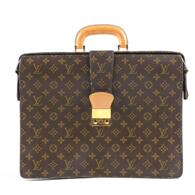 Louis Vuitton Serviette Fermoir in Monogram Canvas with Leather Trim
